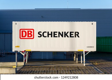 KLADNO, CZECH REPUBLIC - DECEMBER 4 2018: DB Schenker german rail operator Deutsche Bahn AG logistics division company logo on shipping container on December 4, 2018 in Kladno, Czech Republic.