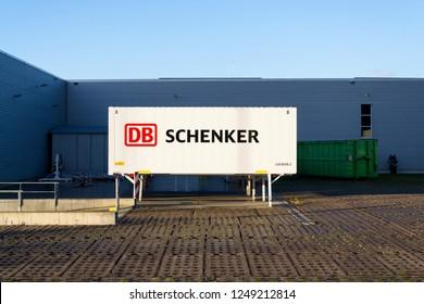 KLADNO, CZECH REPUBLIC - DECEMBER 4 2018: DB Schenker german rail operator Deutsche Bahn AG logistics division company logo on shipping container on December 4, 2018 in Kladno, Czech Republic.