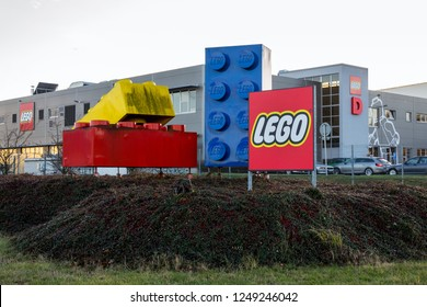 KLADNO, CZECH REPUBLIC - DECEMBER 4 2018: Giant Lego bricks in front of the Lego Group company logo production plant on December 4, 2018 in Kladno, Czech Republic.