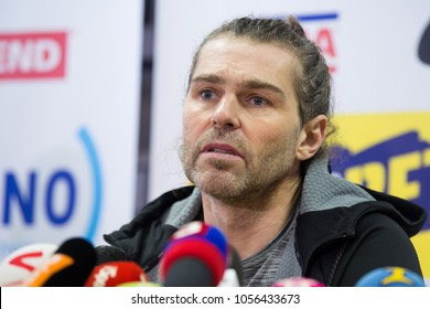 KLADNO, CZECH REPUBLIC - FEBRUARY 1, 2018: Famous Czech ice-hockey player Jaromir Jagr during press conference in Kladno, Czech republic, February 1, 2018.