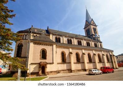 KLADNO, CZECH REPUBLIC  - March 30, 2019: Church of the Assumption of the Virgin Mary in Square Namesti starosty Pavla in Kladno, Central Bohemia, Czech republic