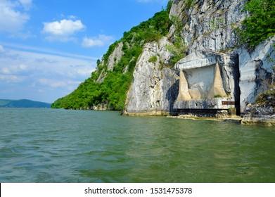 KLADOVO, SERBIA - APRIL 22: Ancient roman sign Tabula Traiana ad Danube gorge in Serbia, on April 22.2019. in Kladovo, Serbia