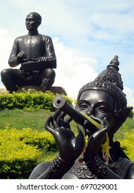 Klaeng, Thailand - August 20th, 2011: Statues commemorate Sunthorn Phu, a Thai poet, and a character from his fables, erected in Klaeng, Rayong Province, the birthplace of Phu's father.