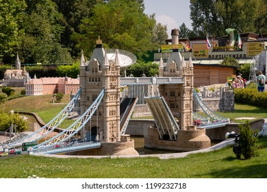 KLAGENFURF, CARINTHIA, AUSTRIA - AUGUST 07, 2018: Park Minimundus am Worthersee. Models of the most famous historical buildings and structures in the world. 1:25 scale