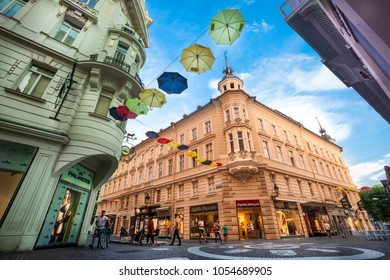 KLAGENFURT, AUSTRIA. August 15, 2015: Buildings and city life in Klagenfurt am Wörthersee, the capitalof the federal state ofCarinthiain Austria.