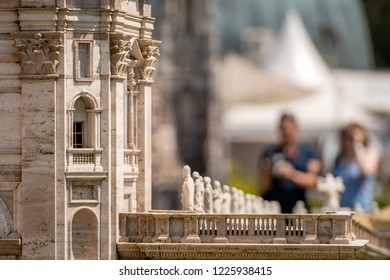 KLAGENFURT, CARINTHIA, AUSTRIA - AUGUST 07, 2018: Park Minimundus am Worthersee. Models of the most famous historical buildings and structures in the world. 1:25 scale