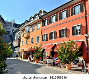 Klagenfurt, Carinthia / Austria - October 10th 2018: Outdoor (alfresco) dining on the colourful streets of Klagenfurt, capital of the Carinthia region in Austria.