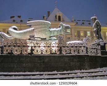 Klagenfurt, Carinthia/Austria - December 30, 2013: Christmas market in the snow in the city of Klagenfurt/Carinthia