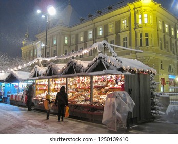 Klagenfurt, Carinthia/Austria - December 30, 2013: Christmas market in the snow in the city of Klagenfurt/Carinthia