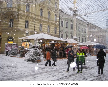 Klagenfurt, Carinthia/Austria - December 30, 2013: Winter scene at Alter Platz, Klagenfurts main square