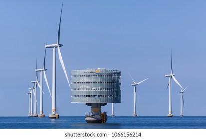 KLAGSHAMN, SWEDEN - APRIL 10, 2018: The offshore windpower station, Lillgrund, in Oresund between Denmark and Sweden