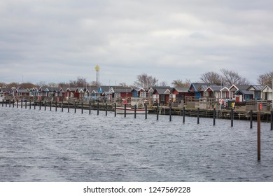 KLAGSHAMN, SWEDEN - NOVEMBER 21, 2018: Summer huts close to the marina in Klagshamn, Skane Sweden in the end of the fall