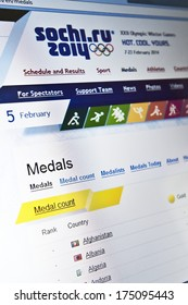 KLAIPEDA - FEB 5: Sochi 2014 Winter Olympics official website home page on Feb. 5, 2014 in Klaipeda, Lithuania. The 2014 Winter Olympics are scheduled: 7 to 23 February 2014, in Sochi, Russia.