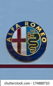 KLAIPEDA - FEBRUARY 4:Alfa Romeo logo, February 4, 2014 in Klaipeda, Lithuania.