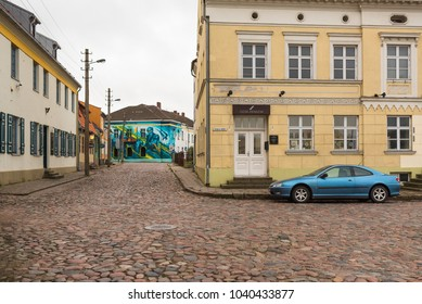 KLAIPEDA, LITHUANIA - 02 May 2015:  View of the Old town district. Klaipeda city in the evening. Klaipeda, Lithuania.