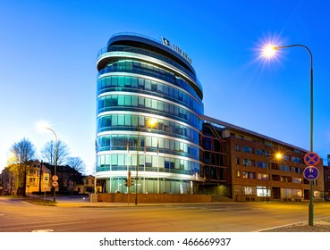 KLAIPEDA, LITHUANIA - 05 MAY 2016: Limarko shipping company building facade in the early morning. Klaipeda, Lithuania.