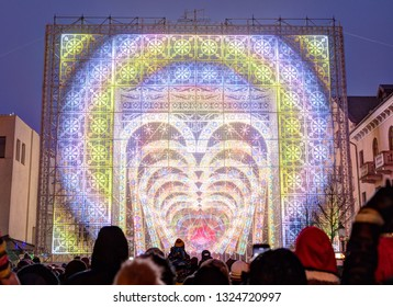 Klaipeda, Lithuania - 17 February, 2019: The gates of light - an annual Light festival. Klaipeda, Lithuania.