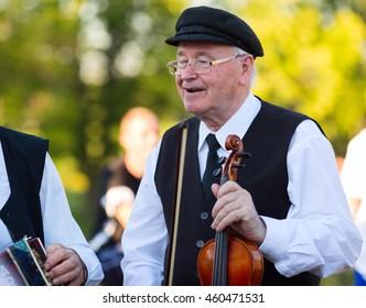 KLAIPEDA, LITHUANIA - 23 JUNE 2016: Saint Jonas' or Dew Holiday Festival (Rasos, Jonines, Kupole) is a midsummer folk festival celebrated on June 24 all around Lithuania.