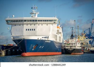 KLAIPEDA, LITHUANIA - AUGUST 14: DFDS SEAWAYS ship Victoria in Klaipeda harbor on August 14, 2017 in Klaipeda, Lithuania. DFDS SEAWAYS is Northern Europe's largest shipping and logistics company.