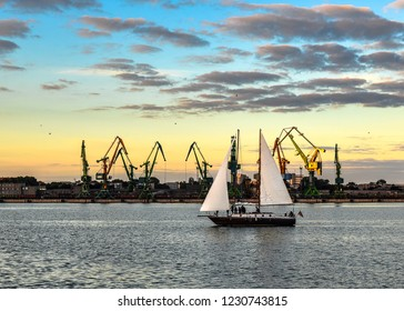 Klaipeda, Lithuania - August 22, 2017: Evening view on Klaipeda Port, yacht and Curonian Lagoon