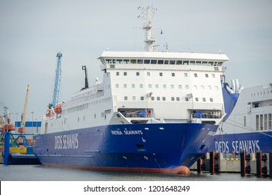 KLAIPEDA, LITHUANIA - JULY 24: DFDS SEAWAYS ship Patria in Klaipeda harbor on July 24, 2016 Klaipeda, Lithuania. DFDS SEAWAYS is Northern Europe's largest shipping and logistics company.