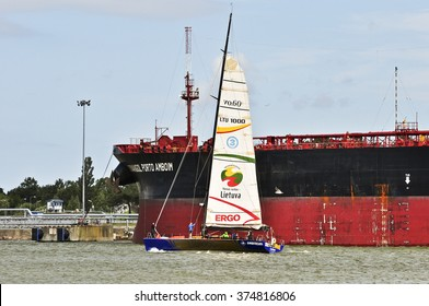 KLAIPEDA, LITHUANIA - JULY 26: Yacht in the Baltic sea during the 48th Curonian Lagoon regatta on July 26,2015 in Klaipeda, Lithuania.