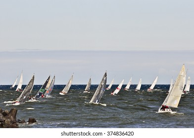 KLAIPEDA, LITHUANIA - JULY 26: Yachts in the Baltic sea during the 48th Curonian Lagoon regatta on July 26,2015 in Klaipeda, Lithuania.