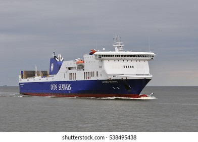 KLAIPEDA, LITHUANIA - JUNE 14: DFDS SEAWAYS ship Victoria Seaways in the Baltic sea on June 14, 2016 in Klaipeda, Lithuania. DFDS SEAWAYS is Northern Europe's largest shipping and logistics company