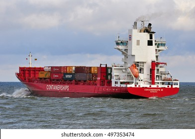 KLAIPEDA, LITHUANIA - JUNE 24: CONTAINERSHIPS VI in the Baltic sea on June 24, 2015 in Klaipeda, Lithuania.
