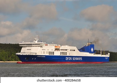 KLAIPEDA, LITHUANIA - JUNE 29: DFDS ship ATHENA SEAWAYS in Klaipeda harbor on June 29, 2015 Klaipeda, Lithuania. DFDS SEAWAYS is Northern Europe's largest shipping and logistics company