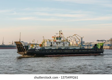KLAIPEDA, LITHUANIA - MARCH 30, 2019: Ferry from Klaipeda city to Neringa city.