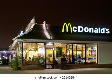 Klaipeda, Lithuania - NOVEMBER 14: McDonald's Restaurant on November 14, 2014 in Klaipeda, Lithuania. McDonald's is the main fast-food restaurant.