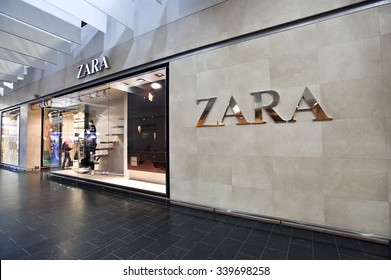 KLAIPEDA, LITHUANIA - OCT 22: ZARA Store on October 22, 2015 in Klaipeda, Lithuania. Zara is an Spanish clothing and accessories retailer.