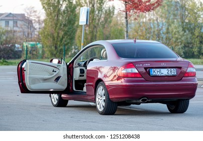 KLAIPEDA, LITHUANIA - OCTOBER 2018: Mercedes-Benz CLK 280 in the early evening.