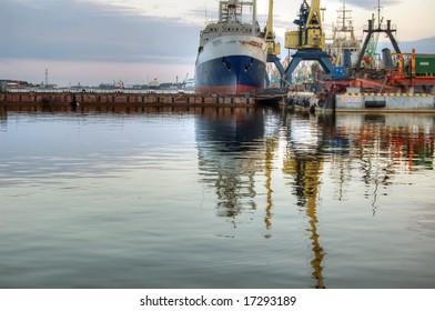 Klaipeda port in the morning