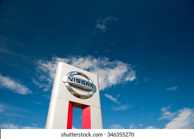 KLAIPEDA-JUL 26: Nissan dealership logo on July 26, 2015, Klaipeda, Lithuania. Nissan Motor Corporation is a Japanese multinational automobile manufacturer headquartered in Nishi-ku, Yokohama, Japan.