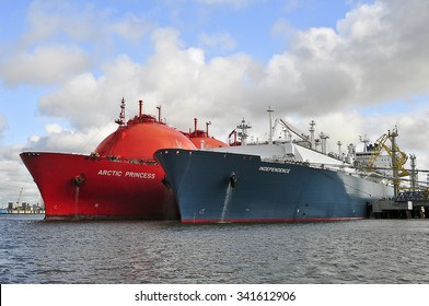 KLAIPEDA,LITHUANIA- JULY 20:The liquefied-natural-gas (LNG) ship Independence and LNG Tanker ARCTIC PRINCESS (registered in Norway) in Klaipeda port on July 20,2015 in Klaipeda,Lithuania.