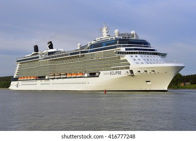 KLAIPEDA,LITHUANIA- JUNE 09:cruise liner CELEBRITY ECLIPSE in port on June 09,2015 in Klaipeda,Lithuania.Celebrity Eclipse is a Solstice-class cruise ship, operated by Celebrity Cruises.
