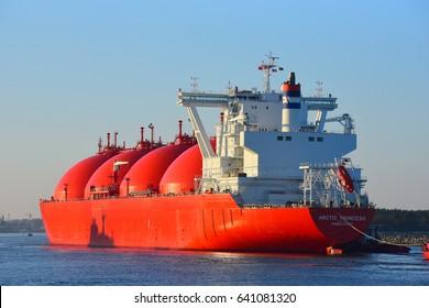 KLAIPEDA,LITHUANIA- MAY 16:LNG Tanker ARCTIC PRINCESS  in Klaipeda port on May 16,2017 in Klaipeda,Lithuania.