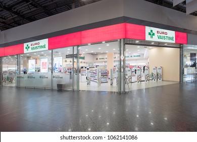 KLAIPEDA,LITHUANIA-APRIL 03,2018:EURO Pharmacy interior.