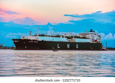 KLAIPEDA,LITHUANIA-AUGUST 21,2017: LNG tanker CLEAN OCEAN in port.