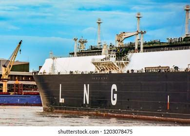KLAIPEDA,LITHUANIA-AUGUST 21,2017: LNG tanker CLEAN OCEAN in port.