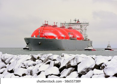 KLAIPEDA,LITHUANIA-FEB 24: LNG Tanker ARCTIC VOYAGER (BAHAMAS) in the Baltic sea on February,2017 in Klaipeda,Lithuania.