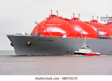 KLAIPEDA,LITHUANIA-FEB 24: LNG Tanker ARCTIC VOYAGER in the Baltic sea on February 24,2017 in Klaipeda,Lithuania.