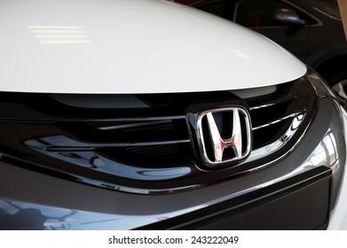 KLAIPEDA,LITHUANIA-JAN 06:HONDA logo on January 06,2015 in Klaipeda,Lithuania. Honda is a Japanese multinational automotive manufacturing company.
