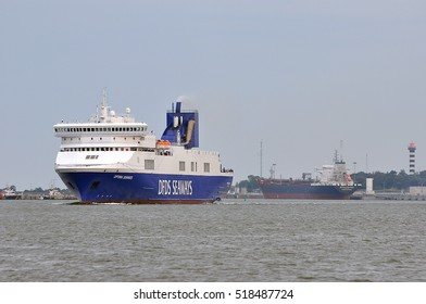 KLAIPEDA,LITHUANIA-JULY 11:DFDS ship OPTIMA SEAWAYS in port Klaipeda on July 11,2016 in Klaipeda,Lithuania.DFDS SEAWAYS is Northern Europe's largest shipping and logistics company.