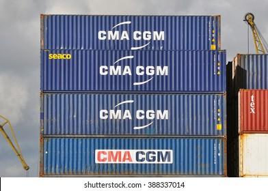 KLAIPEDA,LITHUANIA-JULY 15:Cargo containers of CMA CGM on July 15,2015 in Klaipeda,Lithuania.CMA CGM is the thirds worldwide shipping company.