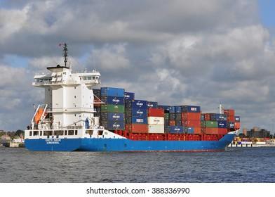 KLAIPEDA,LITHUANIA-JULY 15:containership  GRETE SIBUM on July 15,2015 in Klaipeda,Lithuania.