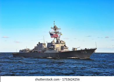 Klaipeda,Lithuania-July 17,2015: military ship USS Jason Dunham in the Baltic sea.USS Jason Dunham is an Arleigh Burke-class destroyer in the United States Navy.