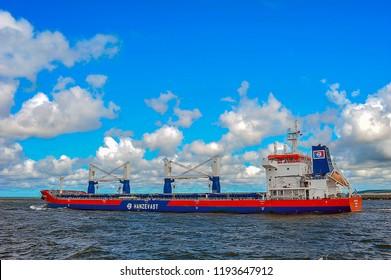 KLAIPEDA,LITHUANIA-JULY 17,2015: Ship DANZE GDANSK in port Klaipeda.